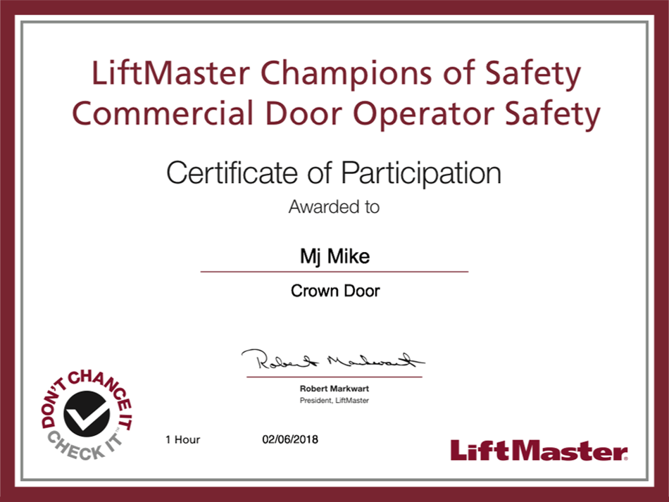 crown door commercial certificate