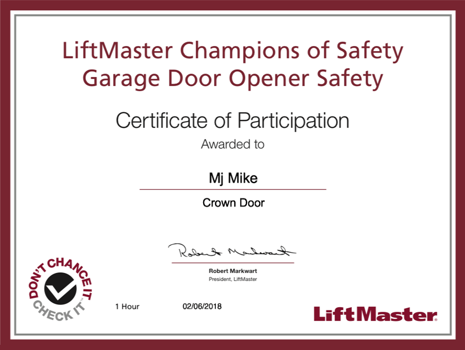 garage door residential certification
